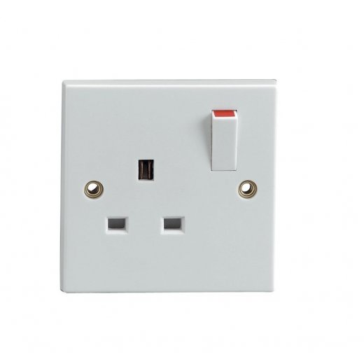 1 Gang Single Wall Electric Switched Socket