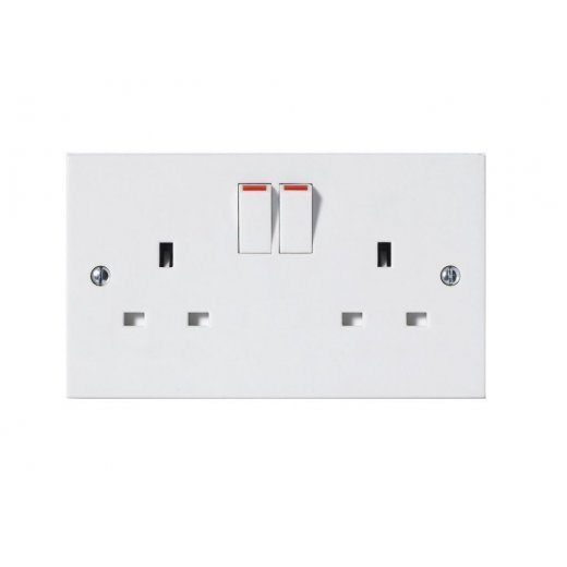 2 Gang Twin Wall Electric Switched Socket