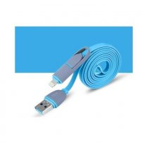 2 in 1 - 8 Pin & Micro USB Charge Sync Data Cable Blue