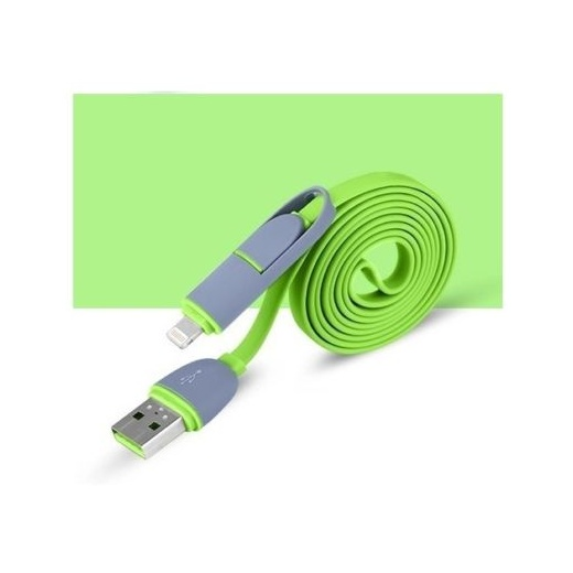 2 in 1 - 8 Pin & Micro USB Charge Sync Data Cable Green