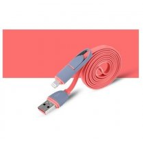 2 in 1 - 8 Pin & Micro USB Charge Sync Data Cable Pink