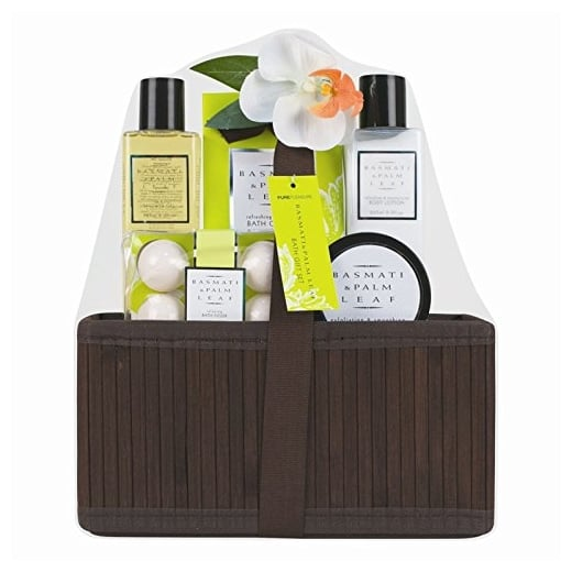 5 Piece Ladies Basmati and Palm Leaf Bath Hamper Gift Set