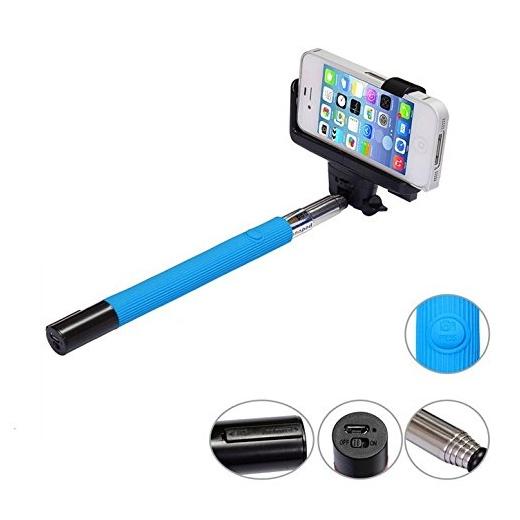 Built-in Bluetooth Shutter Handheld Selfie Stick Blue