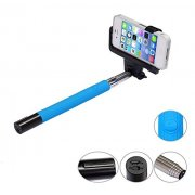 Built-in Bluetooth Shutter Handheld Selfie Stick Blue