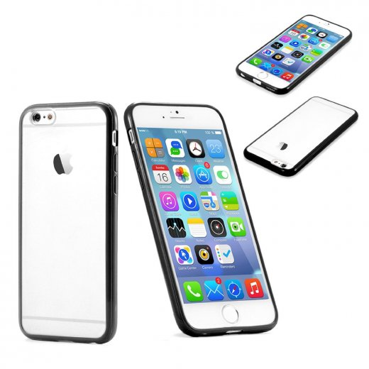 """Clear Plastic Back with TPU Bumper Case for Apple iPhone 6 4.7"""" Black"""