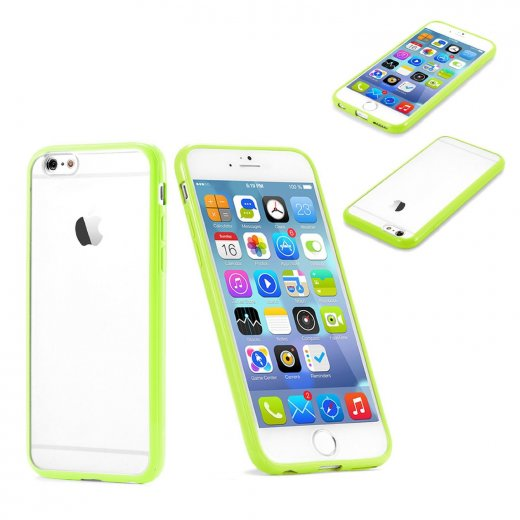 """Clear Plastic Back with TPU Bumper Case for Apple iPhone 6 4.7"""" Green"""