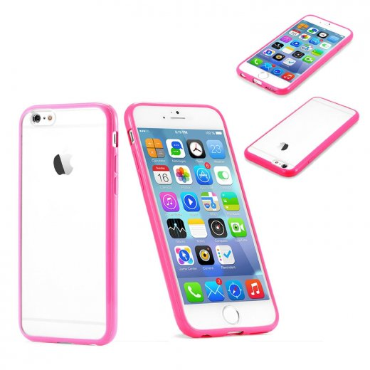 "Clear Plastic Back with TPU Bumper Case for Apple iPhone 6 4.7"" Pink"