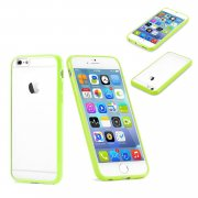 "Clear Plastic Back with TPU Bumper Case for Apple iPhone 6 Plus 5.5"" Green"
