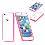 "Clear Plastic Back with TPU Bumper Case for Apple iPhone 6 Plus 5.5"" Pink"