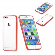 "Clear Plastic Back with TPU Bumper Case for Apple iPhone 6 Plus 5.5"" Red"