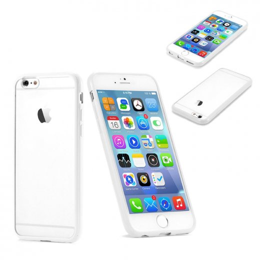 "Clear Plastic Back with TPU Bumper Case for Apple iPhone 6 Plus 5.5"" White"
