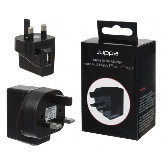 Juppa Universal 1 Amp USB Mains Charger Adapter Black