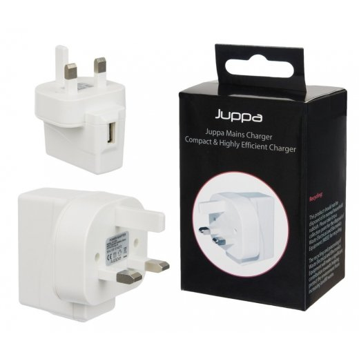 Juppa Universal 1 Amp USB Mains Charger Adapter White