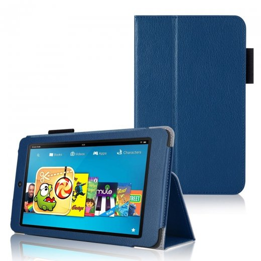 Multi-Function Leather Stand Case for Amazon Kindle HD 6 Inch Blue