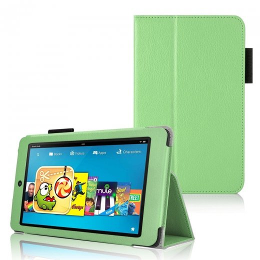 Multi-Function Leather Stand Case for Amazon Kindle HD 6 Inch Green