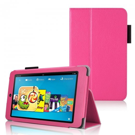 Multi-Function Leather Stand Case for Amazon Kindle HD 6 Inch Pink