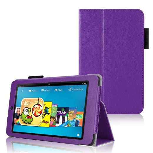 Multi-Function Leather Stand Case for Amazon Kindle HD 6 Inch Purple