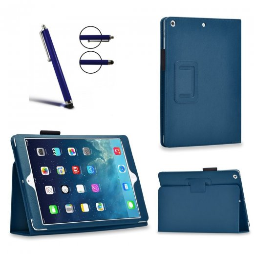 Multi-Function Leather Stand Case for Apple Ipad Air 2 2014 - Blue