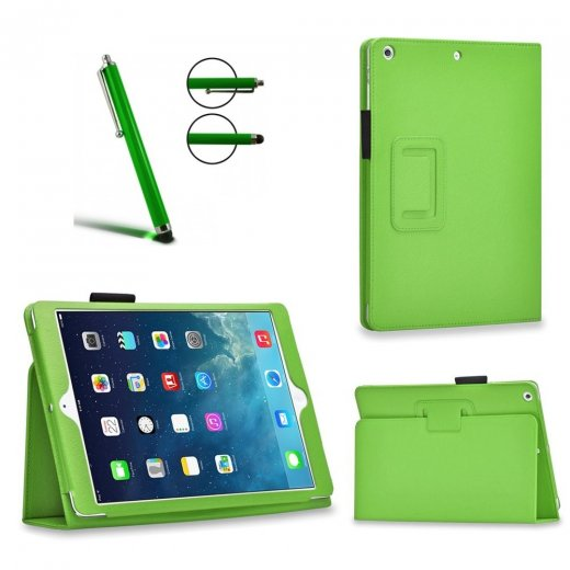 Multi-Function Leather Stand Case for Apple Ipad Air 2 2014 - Green