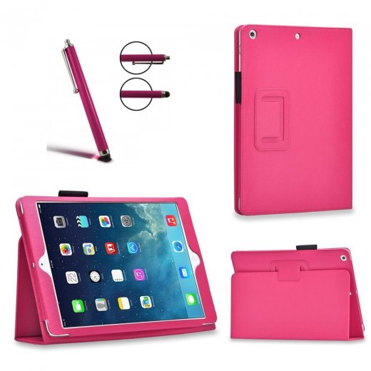 Multi-Function Leather Stand Case for Apple Ipad Air 2 2014 - Pink