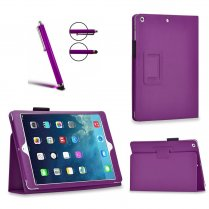 Multi-Function Leather Stand Case for Apple Ipad Air 2 2014 - Purple