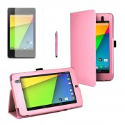 Multi-Function Leather Stand Case for Google Nexus 7 2nd Gen 2013 B.Pink