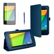 Multi-Function Leather Stand Case for Google Nexus 7 2nd Gen 2013 Blue