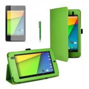 Multi-Function Leather Stand Case for Google Nexus 7 2nd Gen 2013 Green