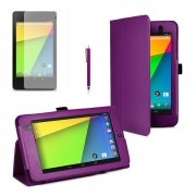 Multi-Function Leather Stand Case for Google Nexus 7 2nd Gen 2013 Purple