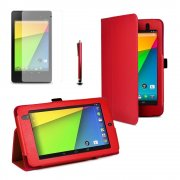 Multi-Function Leather Stand Case for Google Nexus 7 2nd Gen 2013 Red