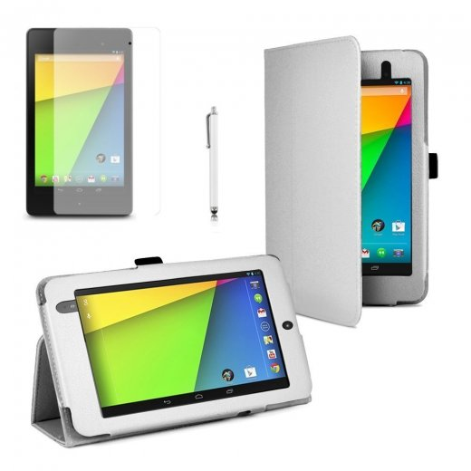 Multi-Function Leather Stand Case for Google Nexus 7 2nd Gen 2013 White