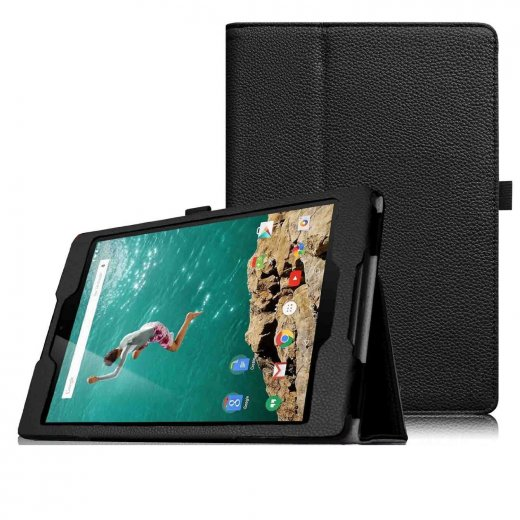 Multi-Function Leather Stand Case for Google Nexus 9 - Black