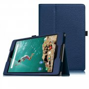 Multi-Function Leather Stand Case for Google Nexus 9 - Blue