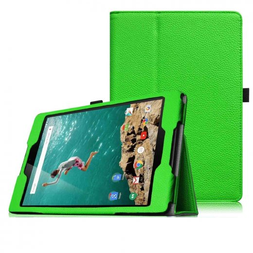 Multi-Function Leather Stand Case for Google Nexus 9 - Green