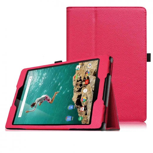 Multi-Function Leather Stand Case for Google Nexus 9 - Pink
