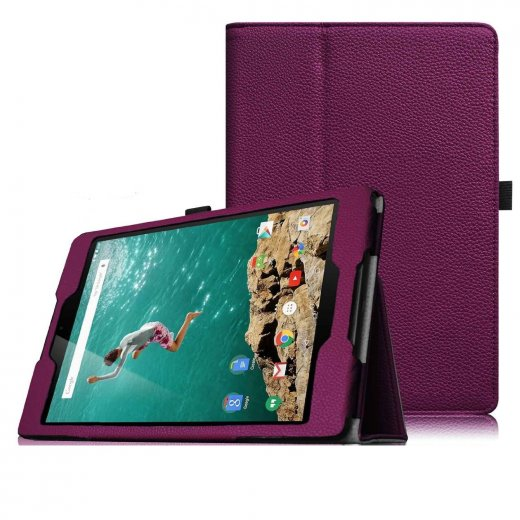 Multi-Function Leather Stand Case for Google Nexus 9 - Purple