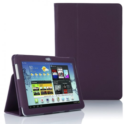 Multi-Function Leather Stand Case for Samsung Galaxy Tab 2 10.1 P5100 Purple