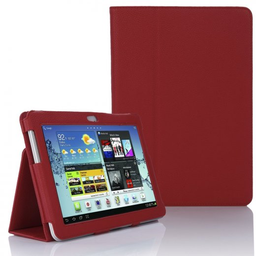 Multi-Function Leather Stand Case for Samsung Galaxy Tab 2 10.1 P5100 Red