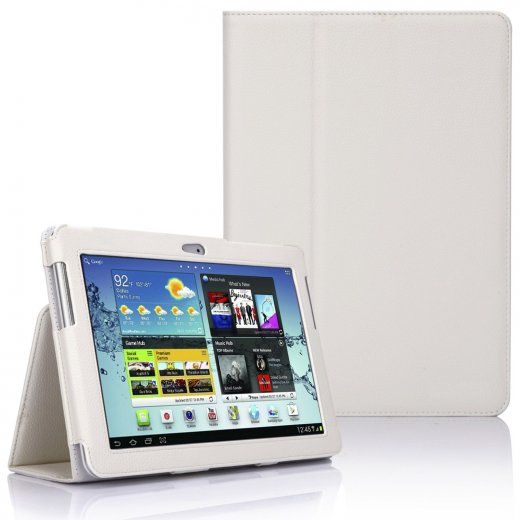 Multi-Function Leather Stand Case for Samsung Galaxy Tab 2 10.1 P5100 White