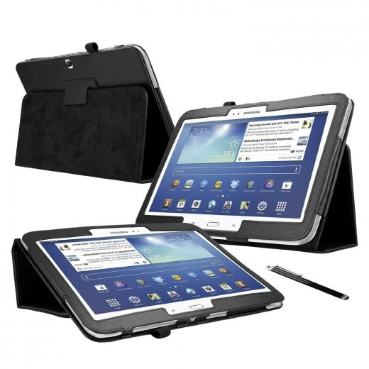 Multi-Function Leather Stand Case for Samsung Galaxy Tab 3 10.1 P5200 Black