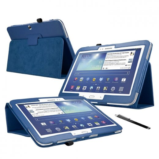 Multi-Function Leather Stand Case for Samsung Galaxy Tab 3 10.1 P5200 Blue