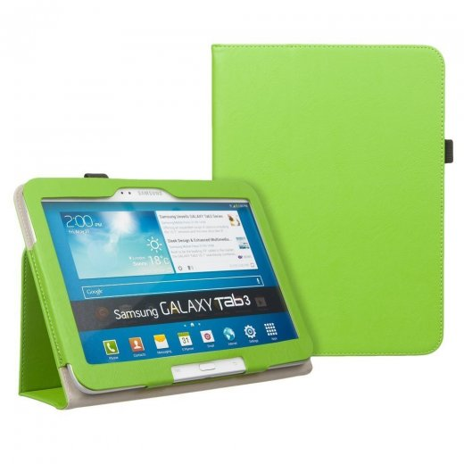 Multi-Function Leather Stand Case for Samsung Galaxy Tab 3 10.1 P5200 Green