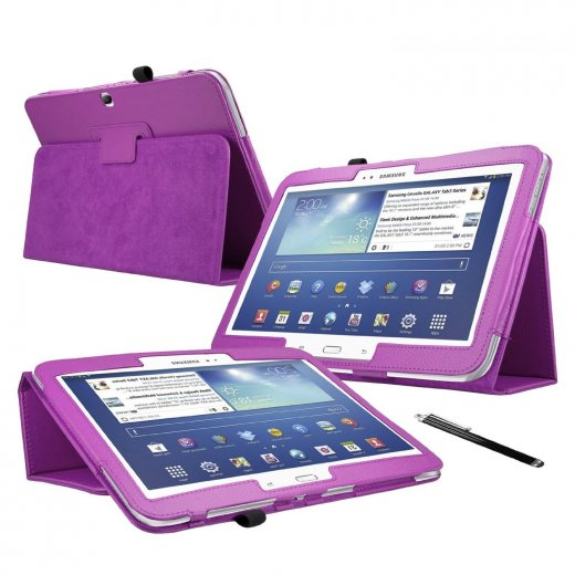 Multi-Function Leather Stand Case for Samsung Galaxy Tab 3 10.1 P5200 Purple
