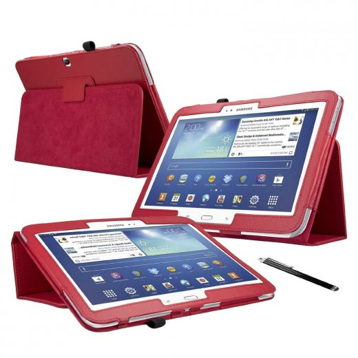 Multi-Function Leather Stand Case for Samsung Galaxy Tab 3 10.1 P5200 Red