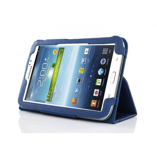 Multi-Function Leather Stand Case for Samsung Galaxy Tab 3 7.0 P3200 Blue