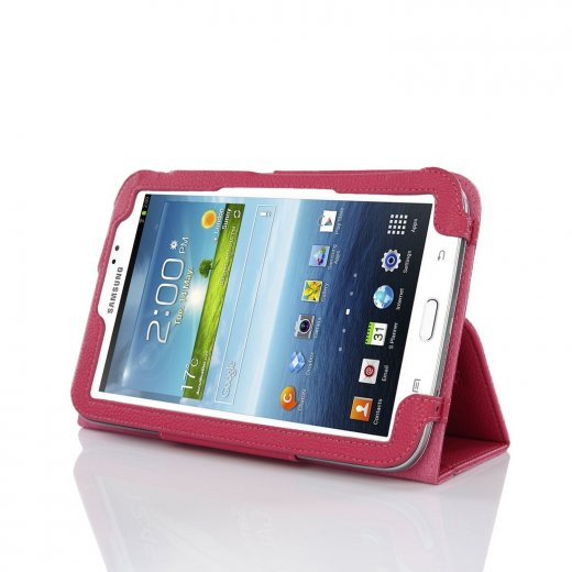 Multi-Function Leather Stand Case for Samsung Galaxy Tab 3 7.0 P3200 Pink