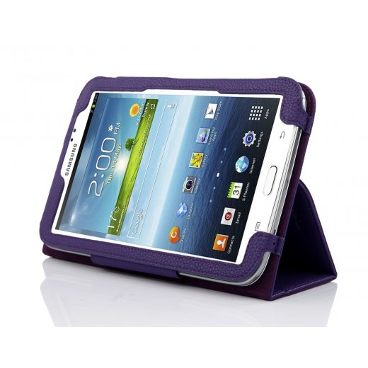 Multi-Function Leather Stand Case for Samsung Galaxy Tab 3 7.0 P3200 Purple