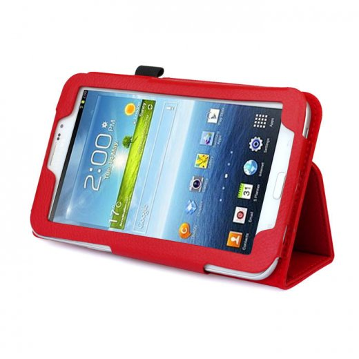 Multi-Function Leather Stand Case for Samsung Galaxy Tab 3 7.0 P3200 Red