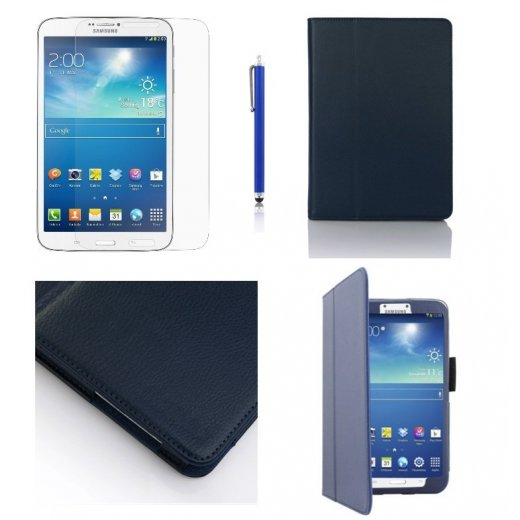 Multi-Function Leather Stand Case for Samsung Galaxy Tab 3 8.0 T3100 Blue