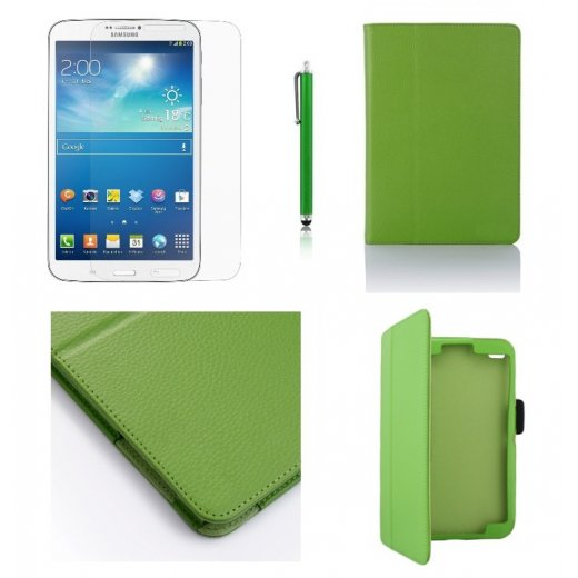 Multi-Function Leather Stand Case for Samsung Galaxy Tab 3 8.0 T3100 Green